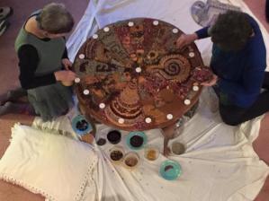 Barbara & Karen work on Solstice mandala