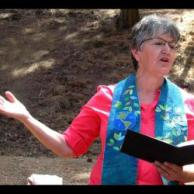 Karen leading outdoor worship